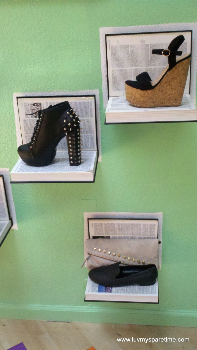 Recycled book shoe display