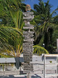 caye caulker belize sign post