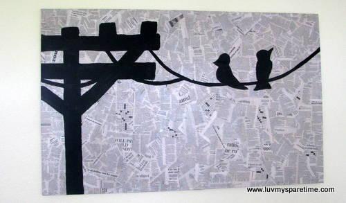 Bird on a Wire Newsprint Decoupage DIY Art – Luv My Spare Time