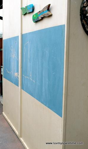 DIY outdoor chalkboard wall