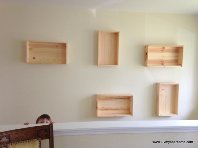 Wine box display shelves