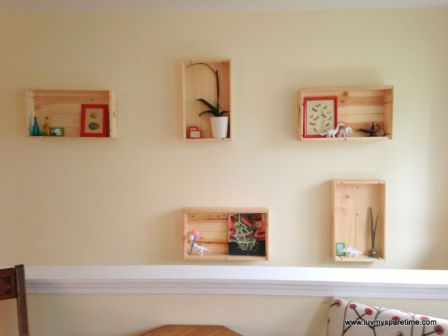 Wine box wall shelves