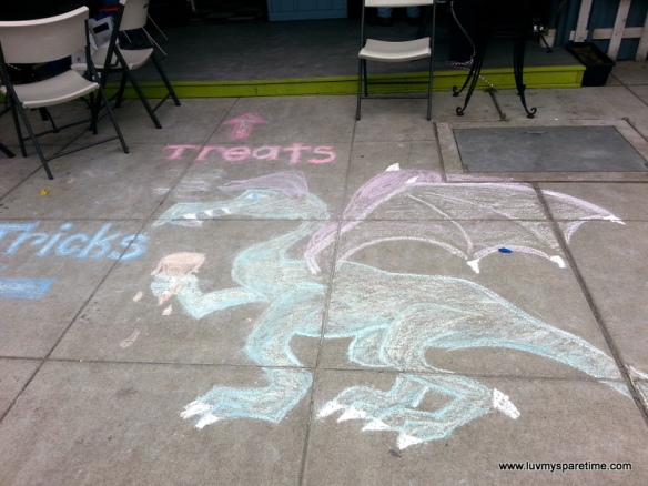 Dragon sidewalk chalk art