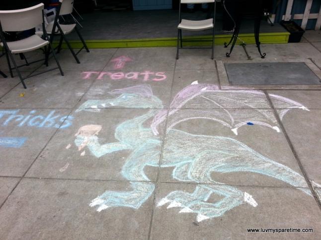 Dragon sidewalk chalk art