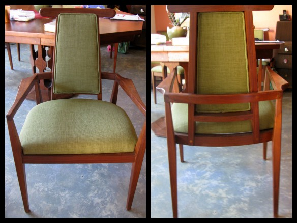 reupholstered Vintage danish mid century dining chairs