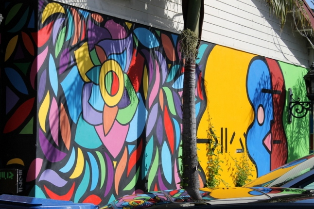 Santa Barbara Funk Zone picasso like public artpublic art mural